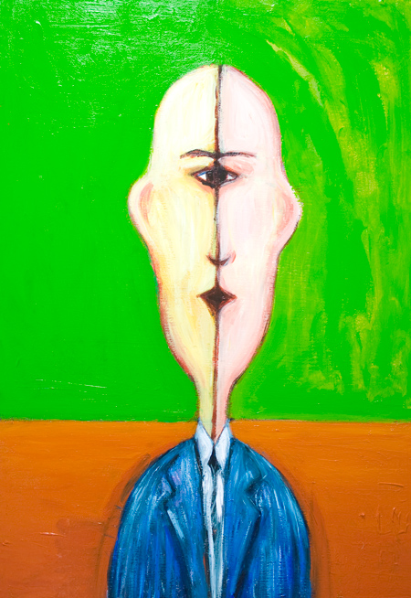 The Mirror Symmetry Portrait of a very polite bald Bank clerk  : new mirror symmetry odd bald man portrait painting, surrealism portrait, strange human figure, pop surrealism Cyclops portrait painting #9395, 2010 | Kazuya Akimoto Art Museum