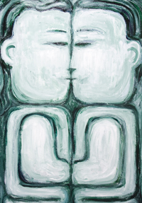 The Naive Kiss : new contemporary naive raw art man and woman portrait painting, monotone, symmetry, love, family, sculptural, abstract human forms, abstract human body forms, abstract naive family, primitive, analogous monocolor monochrome, acrylic painting #9721, 2010 | Kazuya Akimoto Art Museum