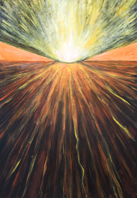 Abstract Volcanic Eruption :new abstract landscape painting, abstract natural pattern, abstract symbolism nature, abstract volcano, abstract mountain, light symbolism, radiation flow pattern, earth scientific art, geological theme, acrylic painting #9593, 2011 | Kazuya Akimoto Art Museum
