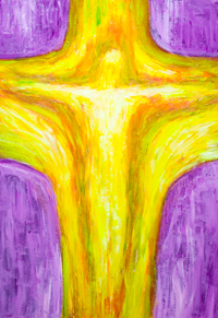 New Birth on the Cross : abstract spiritual painting, abstract birth, abstract symbolism, complementary colors, religious symbolism, contemporary Christianity art, purple and yellow, acrylic painting #9729, 2011 | Kazuya Akimoto Art Museum