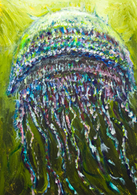 Japanese Gigantic Jellyfish rising towards the surface :abstract nature surrealism painting, Nomura's Jellyfish, echizen kurage, odd sea creature, Japanese animal symbolism, natural symbolism, surreal pointillism, deep sea sight, acrylic painting #9743, 2011 | Kazuya Akimoto Art Museum