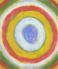 geometric abstract, concentric circle pattern painting, geometric circle symbolism, geometric pattern, awkward, naive circular stripe design, soft pastel painting pas136, 2003 | Kazuya Akimoto Art Museum