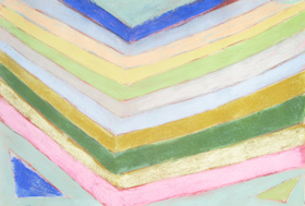 Abstract Pastel Reflection  : abstract geometric raw art, art brut,  pastel pale color pattern, naive stripe pattern, reflection parallel line patterns, geometric pattern pastel painting pas137, 2003 | Kazuya Akimoto Art Museum