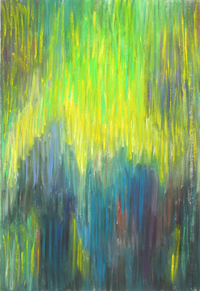 soft pastel, contemporary Christianity theme painting, abstract traditional nativity scene, silhouette, three wise men, Magi,Gospel, biblical theme, vertical pastel line pattern, light symbolism, abstract human figures, the holy night, the sacred night, the birth of Jesus Christ scene, abstract Christianity theme pastel painting pas148, 2003 | Kazuya Akimoto Art Museum