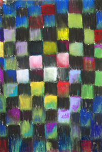Pastel Black Checkered Pattern : abstract colorful black checkered pattern pastel painting, geometric pattern, geometric symbolism, colorful, allover, pattern symbolism, pastel painting, pas152, 2003 | Kazuya Akimoto Art Museum