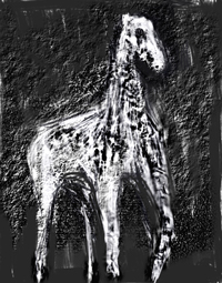 Pale Horse : dark, surreal realism, surrealism, eerie, uncanny, biblical, religious, legendary, animal( horse) symbolism, digital texture, abstract texture, black and white, digital image expressionism horse painting | Kazuya Akimoto Art Museum: Classics