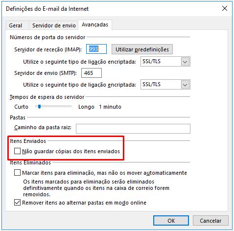 Outlook 2016 e 2013 Imap Não guardar cópias dos itens enviados