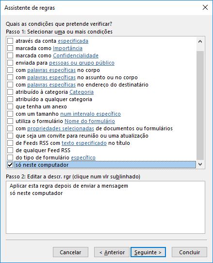 Outlook Aplicar Regra só neste computador