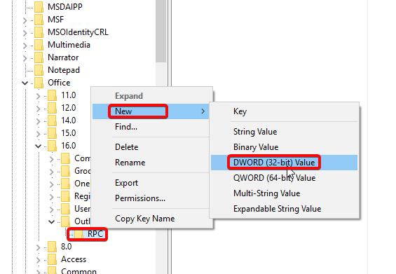 Outlook 2016 regedit new key DWORD