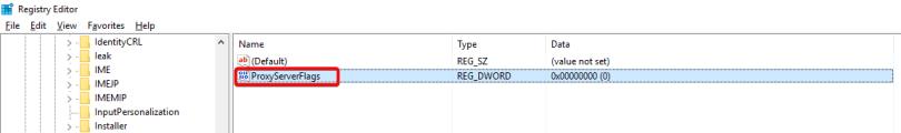 Outlook 2016 regedit new key ProxyServerFlags