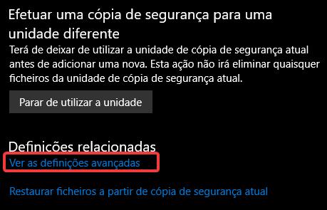 backup windows10 ver definições avançadas