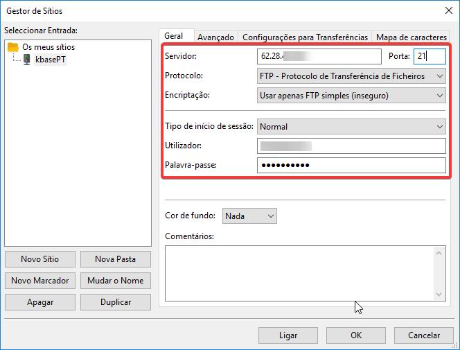 filezilla configurar servidor ftp dados