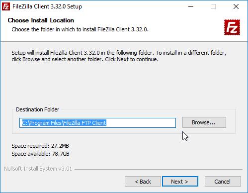 filezilla instalação localização