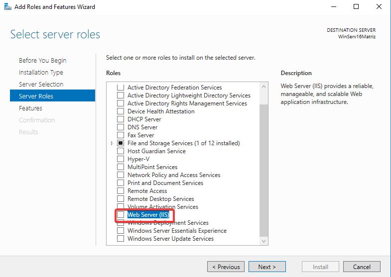 Windows Server IIS - Instalar IIS 10 - Selecionar Web Server IIS