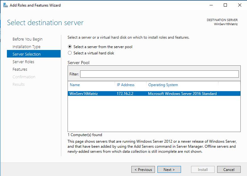 Windows Server IIS - Instalar IIS 10 - destination server