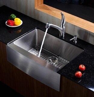 kraus khf200 30 30 inch farmhouse apron single bowl 16 gauge stainless steel kitchen sink