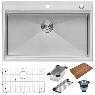 ruvati rvh8003 siena 33 x 22 inch workstation ledge drop in tight radius 16 gauge stainless steel single bowl kitchen sink