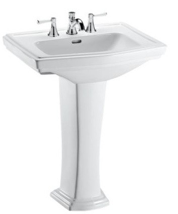 toto lpt780 8 clayton 27 inch pedestal lavatory with 8 inch faucet centers