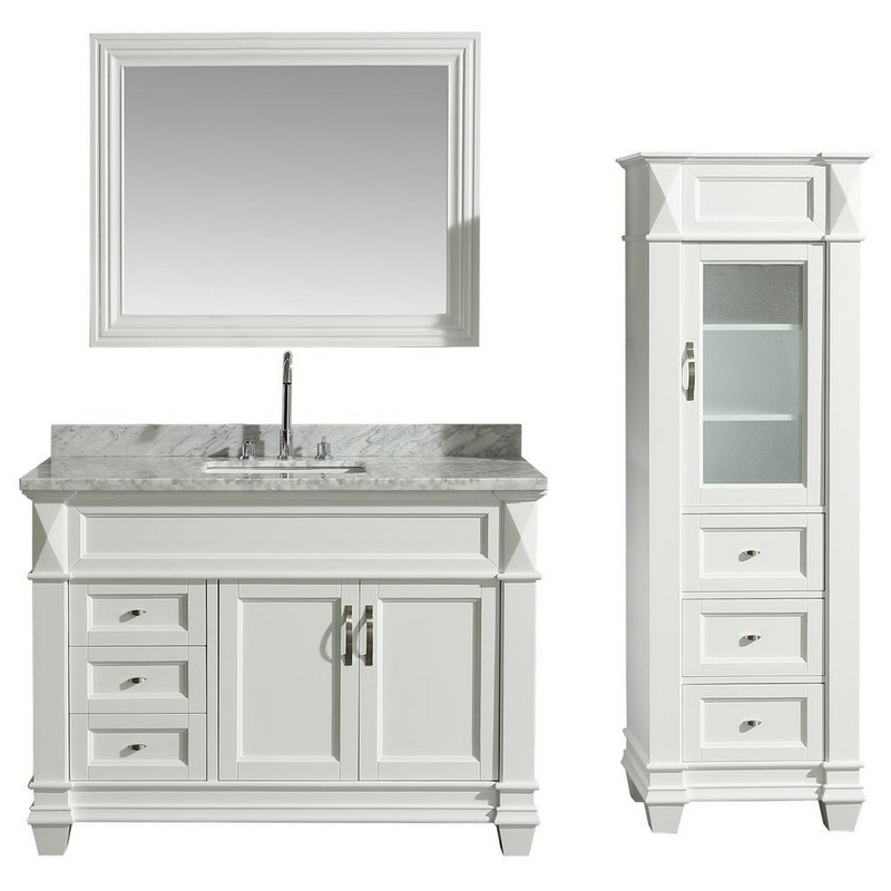design element dec059b w wt cab059 w hudson 48 inch single sink vanity set in white with carrara marble top and 65 inch linen tower cabinet