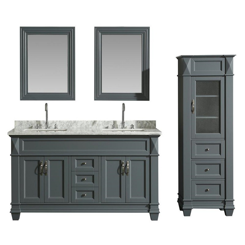 design element dec059c g wt cab059 g hudson 60 inch single sink vanity set in grey with carrara marble top and 65 inch linen tower cabinet