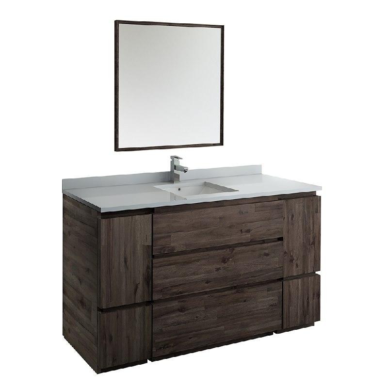 fresca fvn31 123612aca fc formosa 60 inch floor standing single sink modern bathroom vanity with mirror in acacia wood finish