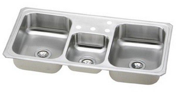 elkay cmr43226 celebrity 43 l x 22 w x 7 d triple bowl top mount kitchen sink 6 faucet holes