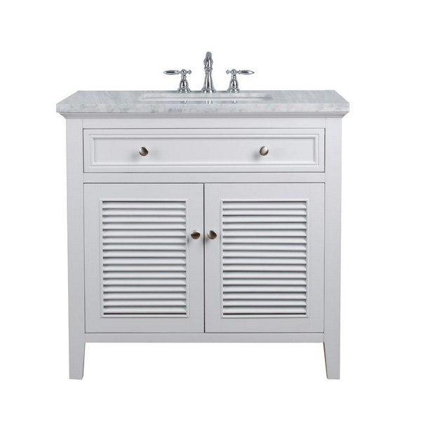 stufurhome hd 1300w 36 cr genevieve 36 inch white single vanity cabinet w shutter double doors single bathroom sink