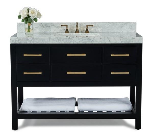 ancerre designs vts elizabeth 48 bo cw gd elizabeth 48 inch bath vanity set in black onyx with italian carrara white marble vanity top