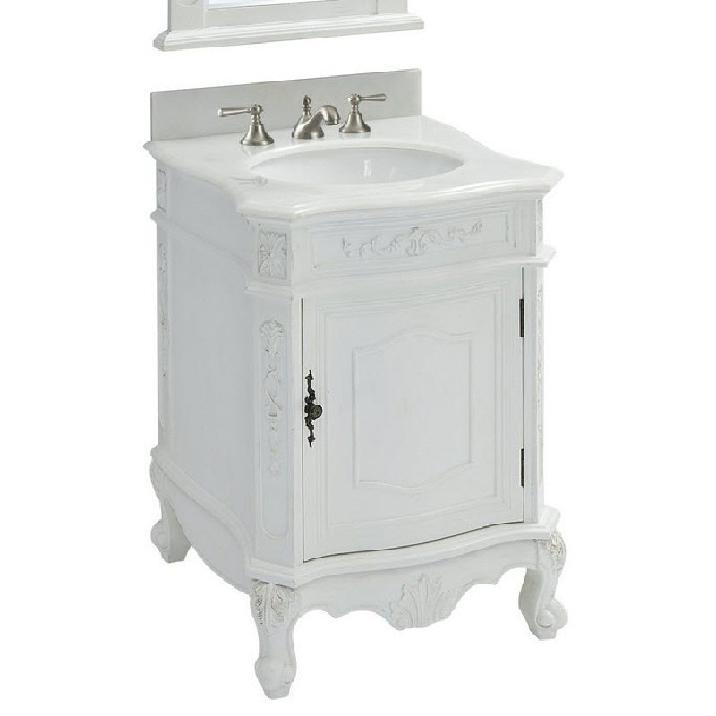 chans furniture bwv 049w aw 24 inch classic petite powder room debellis bathroom sink vanity in antique white