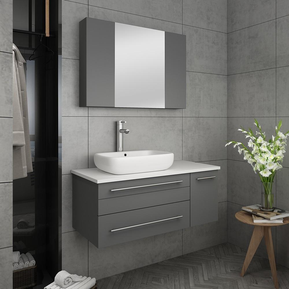 fresca fvn6136gr vsl l lucera 36 inch gray wall hung vessel sink modern bathroom vanity with medicine cabinet left version