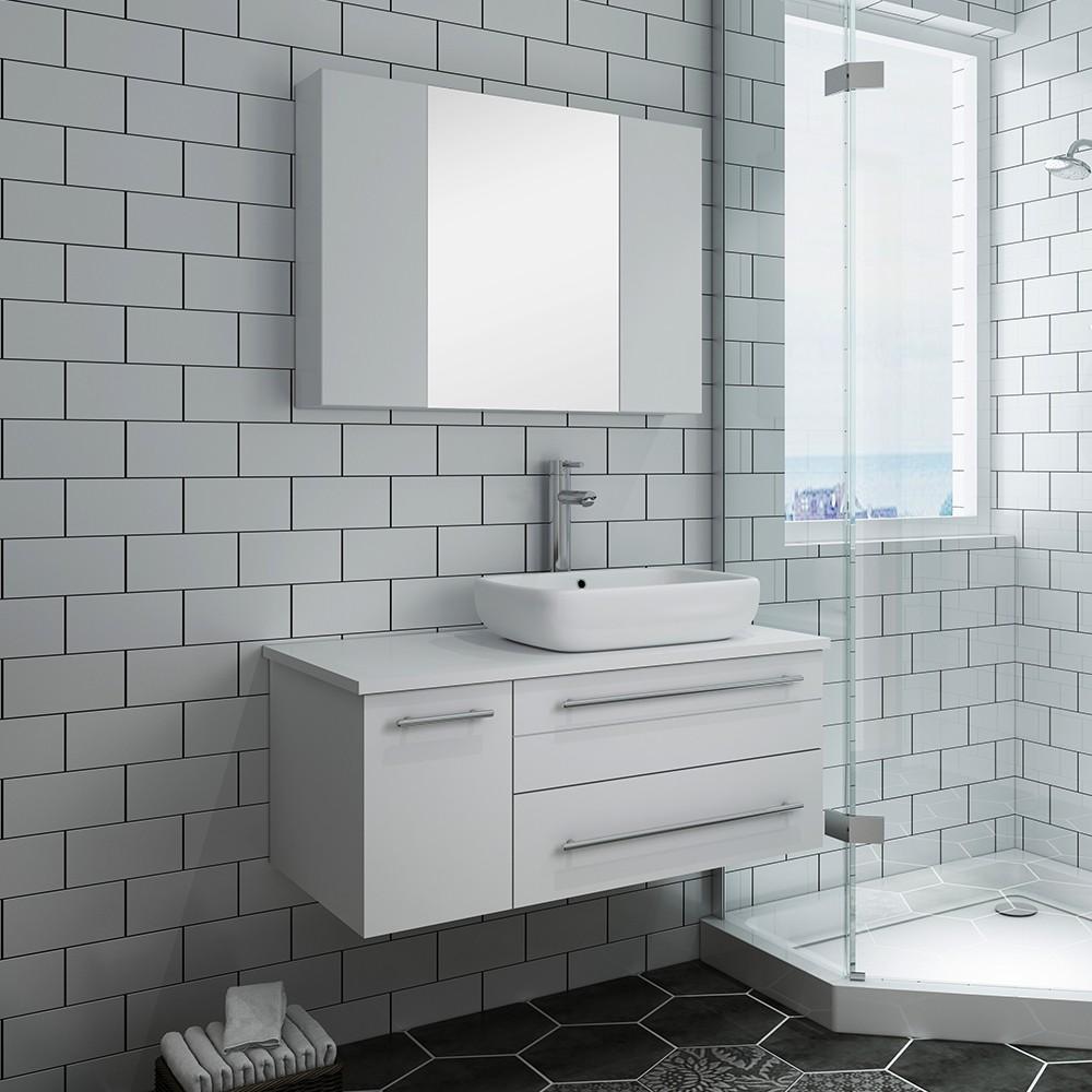 fresca fvn6136wh vsl r lucera 36 inch white wall hung vessel sink modern bathroom vanity with medicine cabinet right version