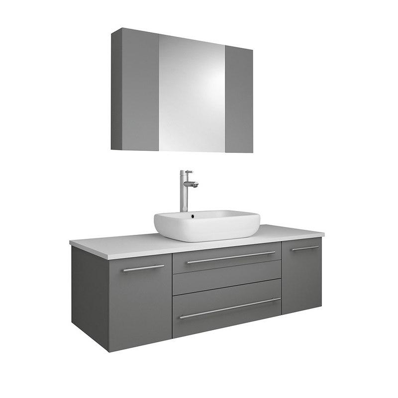 fresca fvn6148gr vsl lucera 48 inch gray wall hung vessel sink modern bathroom vanity with medicine cabinet