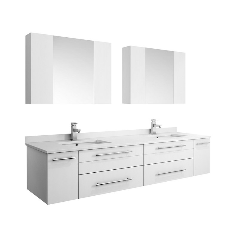 fresca fvn6172wh uns d lucera 72 inch white wall hung double undermount sink modern bathroom vanity with medicine cabinets