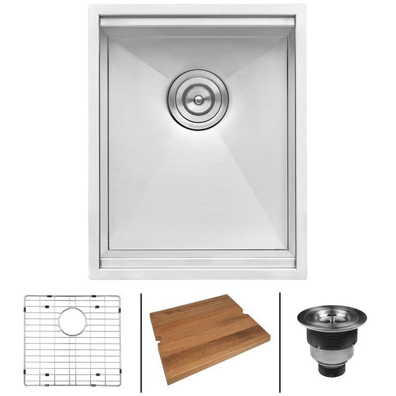 ruvati rvh8304 roma 15 x 19 inch workstation bar prep ledge undermount 16 gauge stainless steel single bowl sink