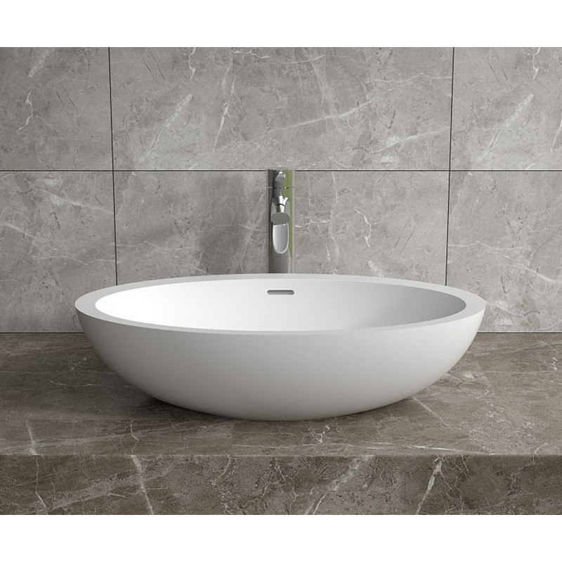 infurniture ws vs v104 g 24 x 14 inch polystone oval vessel bathroom sink with overflow in glossy white