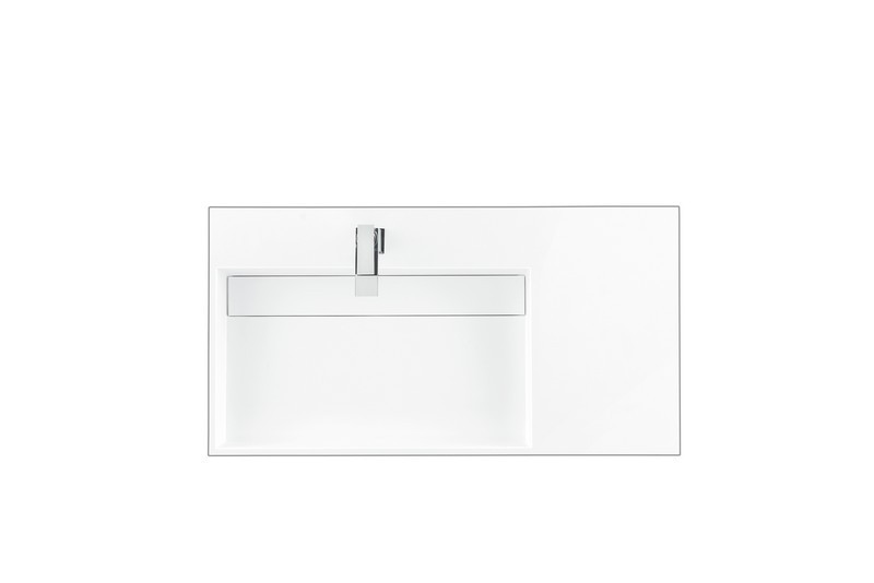 james martin ss 366 gw 35 4 inch vanity top with 1 integrated left side offset sink in glossy white