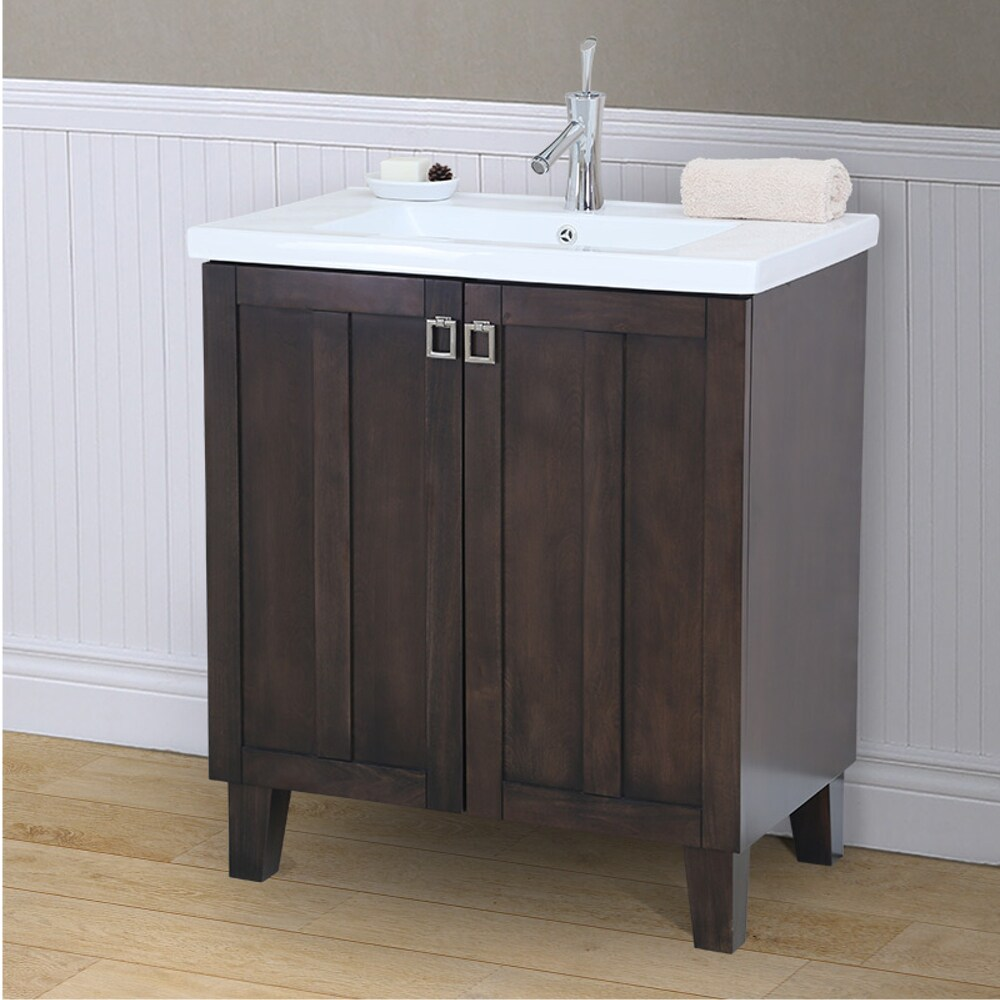 infurniture in3730 br 30 inch single sink bathroom vanity in brown with thick edge ceramic top