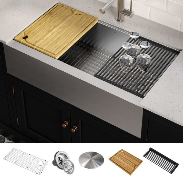 kraus kwf410 36 kore workstation 36 inch farmhouse flat apron front 16 gauge single bowl stainless steel kitchen sink with accessories pack of 5