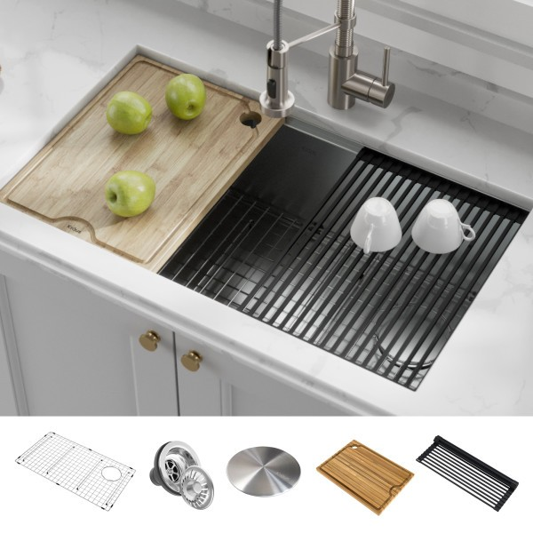 kraus kwu110 32 kore workstation 32 inch undermount 16 gauge single bowl stainless steel kitchen sink with accessories pack of 5