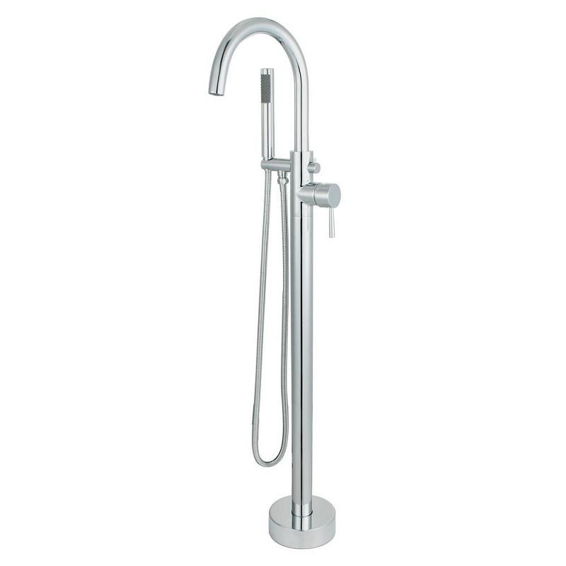 bellaterra 210419 single handle floor mount freestanding tub faucet with hand shower