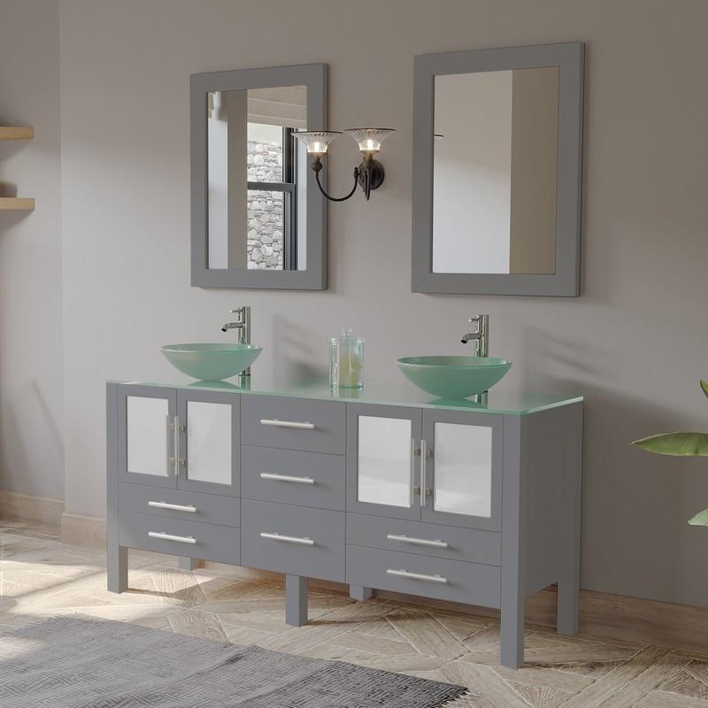 cambridge plumbing 8119b g gray 63 inch double sink frosted glass countertop vanity set
