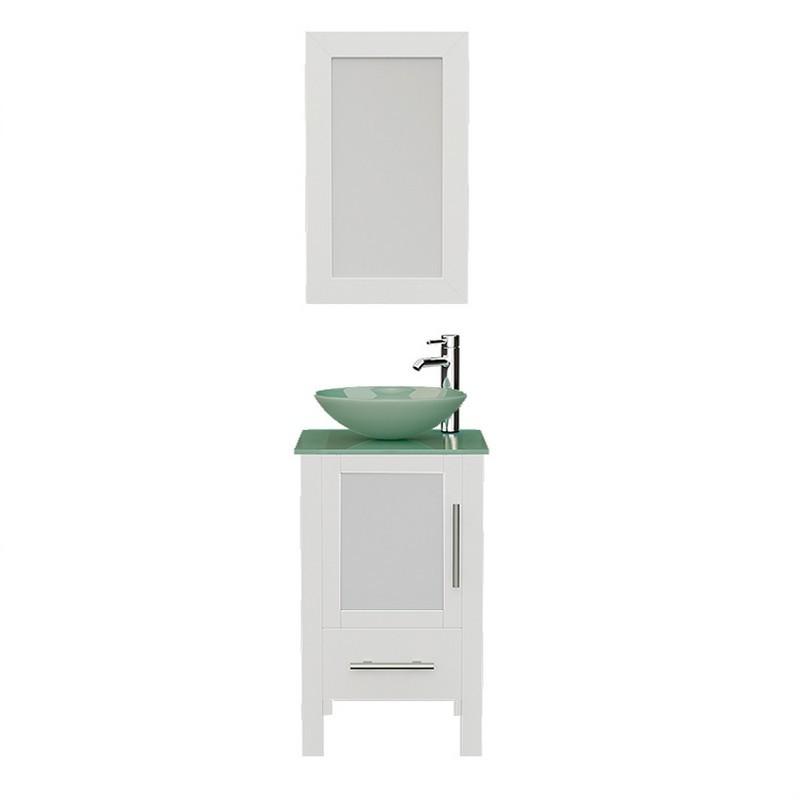 cambridge plumbing 8137bw 18 inch free standing wood and glass single vessel sink bathroom vanity set in white