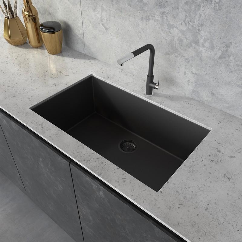 ruvati rvg2030bk epigranite 30 x 17 inch granite composite undermount single bowl kitchen sink in midnight black