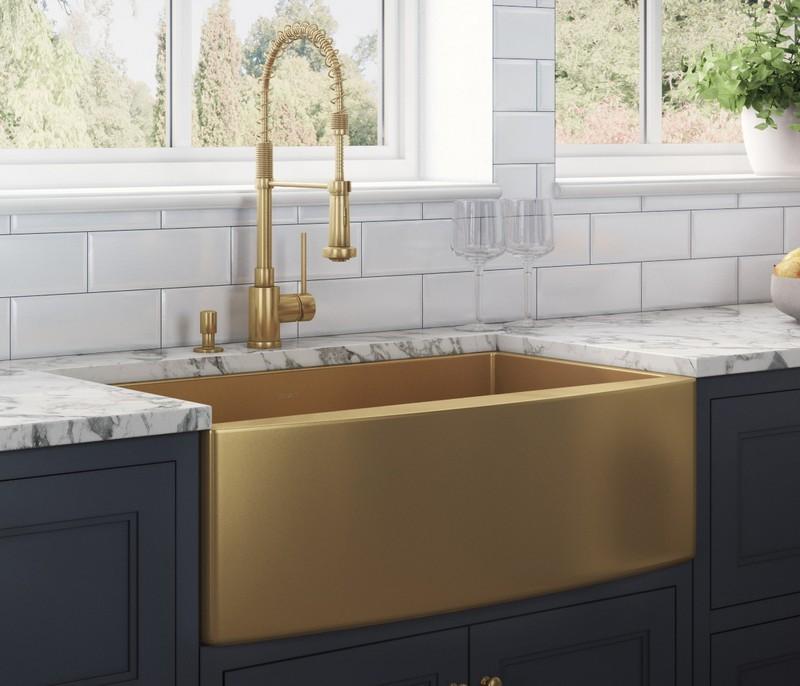 ruvati rvh9880gg terraza 36 x 22 inch apron front farmhouse brass tone matte gold stainless steel single bowl kitchen sink