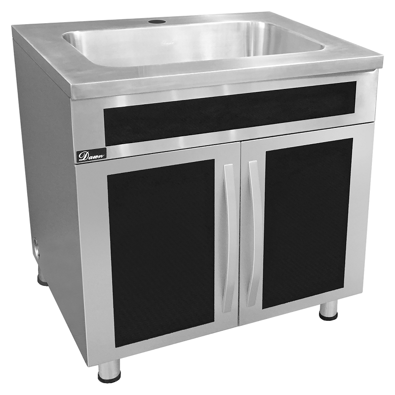 dawn ssc3636g 36 inch seamless one piece stainless steel cabinet with integrated sink in polished satin