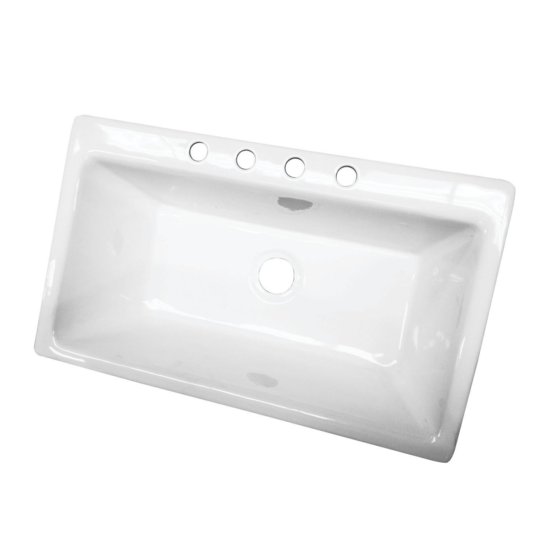 kingston brass gckts362211 gourmetier towne 36 x 22 inch single bowl top mount drop in kitchen sink in white