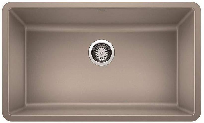 blanco 442531 precis 30 inch single bowl granite kitchen sink in truffle