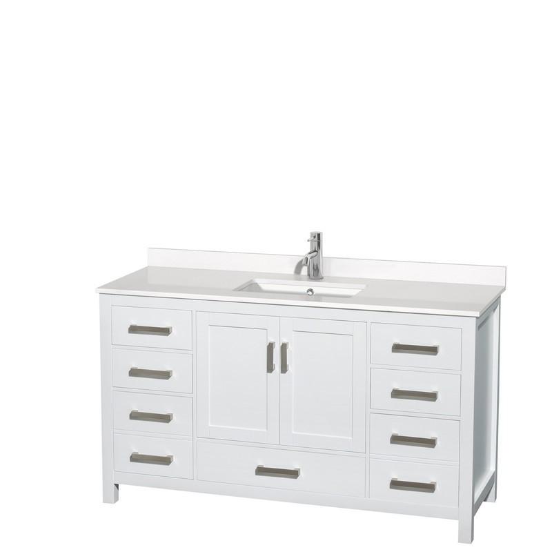 wyndham collection wcs141460swhwqunsmxx sheffield 60 inch single bathroom vanity in white white quartz countertop undermount square sink no mirror