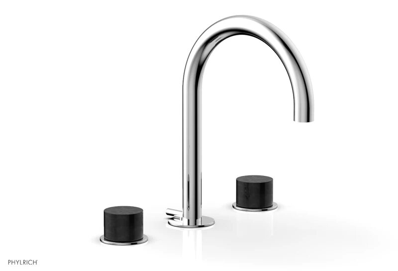 phylrich 230 03 030 basic ii three hole widespread bathroom faucet with black marble handles