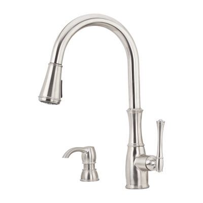 pfister gt529 wh1 wheaton 17 inch single lever handle deck mount pull down kitchen faucet with soap dispenser